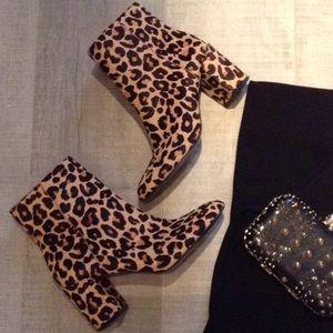 INC Floriann Leopard print block heeled bootie